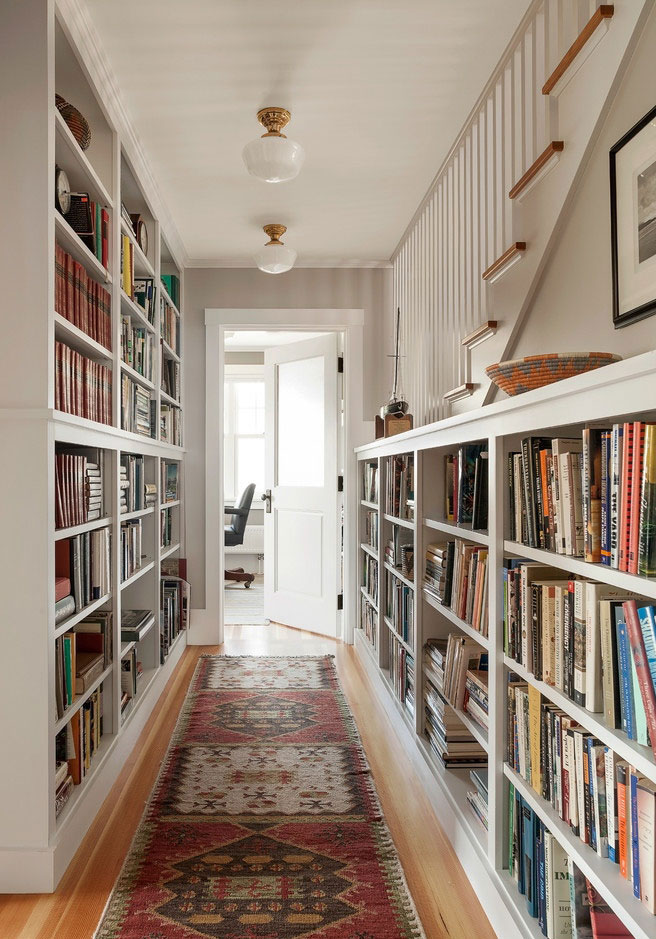 beach style hall کتابخانه ها در دکوراسیون منزل