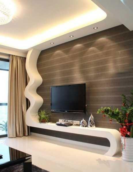 lcd5 دکوراسیون دیوار ال سی دی چوبی و کناف