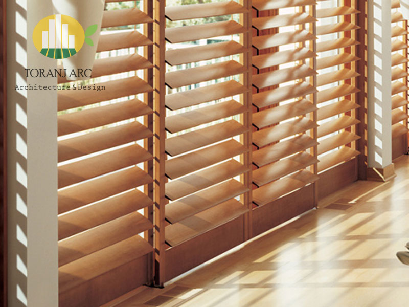 wooden jalousie curtain 1 پرده کرکره چوبی