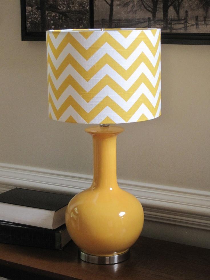Yellow lamp shades on chevron آباژورهای جدید در دکوراسیون منزل