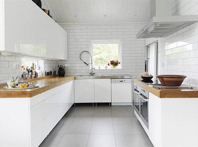 white and wood kitchen دکوراسیون آشپزخانه