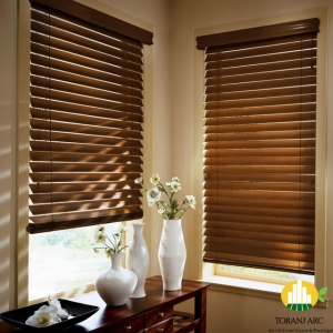 brown wooden venetian blinds wooden blinds in staffordshire amanda for blinds curtains door window blinds 300x300 خرید پرده