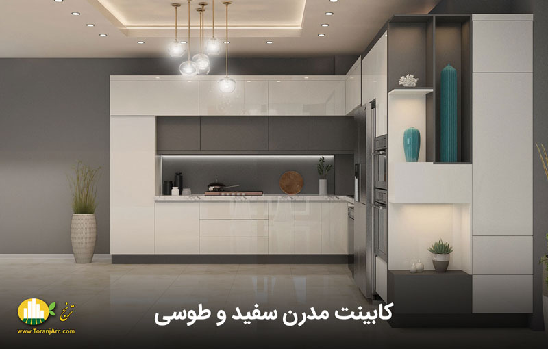 modern white and gray cabinets 01 کابینت مدرن سفید و طوسی