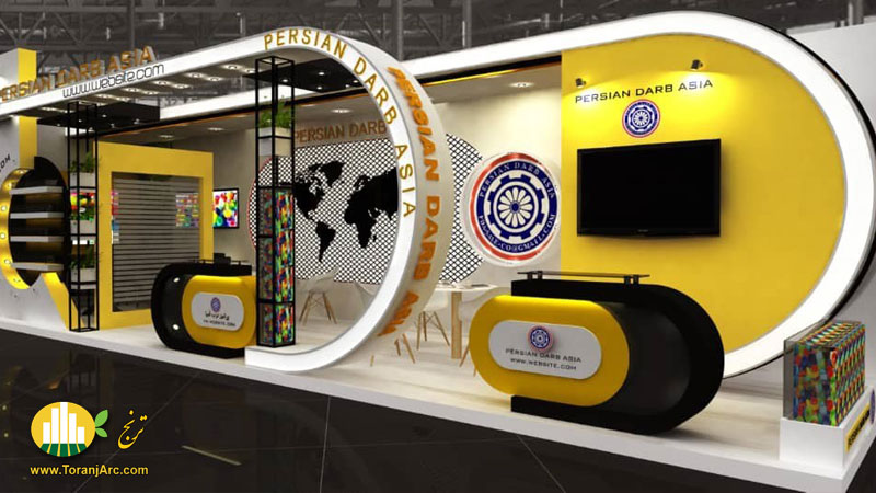 سه بعدی غرفه نمایشگاهی شرکت پرشین درب آسیا