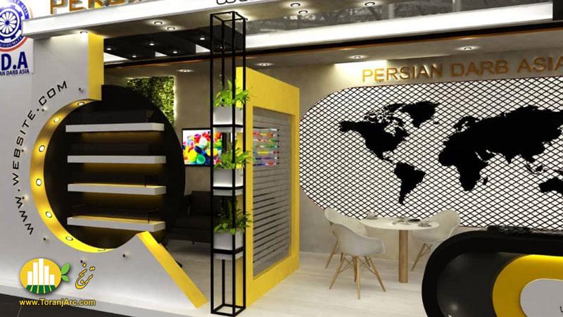 طراحی سه بعدی غرفه نمایشگاهی شرکت پرشین درب آسیا